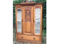 Stunning vintage carved wooden double wardrobe
