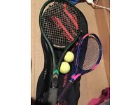 Tennis rackets (men's and ladies) with case and balls