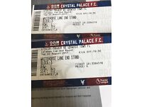 Crystals Palace v Ipswich 2 tickets 22nd August 7:30