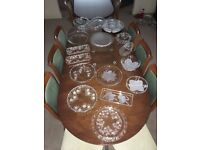 Assortment of approx 15/16 glass serving dishes, plateaus and MORE!