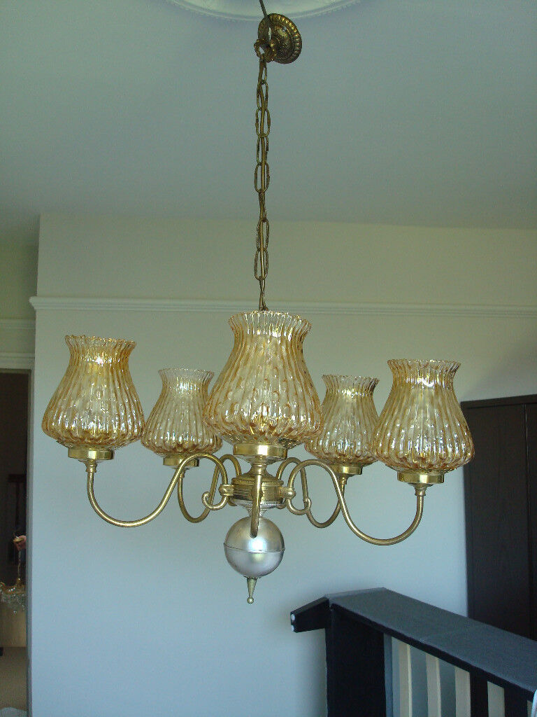 A Rare And Beautiful 5 Arm Solid Brass Period Antique Chandelier Pendant Light