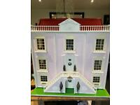 Beautiful hand made wooden country manor dolls house with furniture