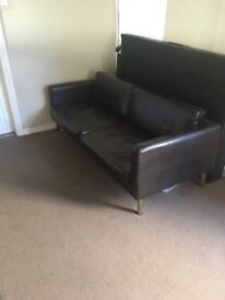 Large Brown leather x3 Seater sofa