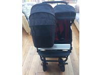 Mountain Buggy Duet in Chilli/Black with Carrycot *Double Pushchair*