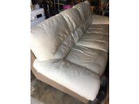 Cream Leather 3 seat Sofa - FREE