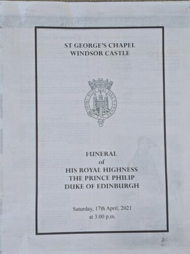Prince Philip Funeral Program Sun Reproduction St George's Chapel 17.4.2021