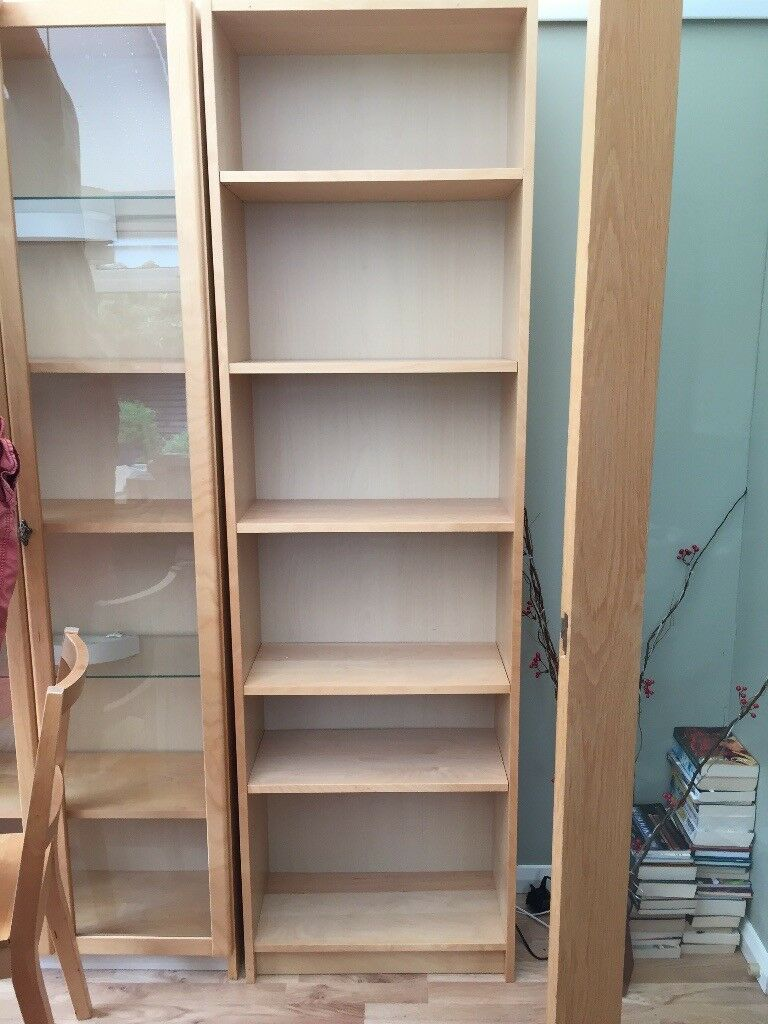 Ikea Billy Bookcases Glass Door Cabinet And Low Cupboard In Birch Colour In Llanishen Cardiff Gumtree