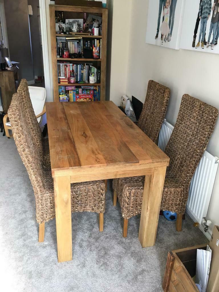 5ft Dining Table And 6 Wicker Chairs In Royal Wootton Bett Wiltshire Gumtree