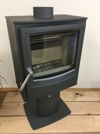 Arada Farringdon Small 4.9kW Wood Burning Only Stove / Fire in Grey with Pedestal