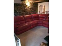 Red leather corner sofa