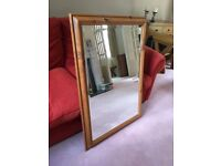 Large mirror in solid pine wooden frame - Verwood Nr Bournemouth