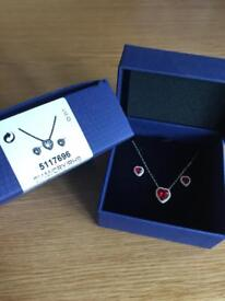 Heart Swarovski set necklace and earrings