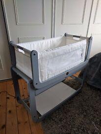 LIKE NEW - Snuzpod 3 in 1 bedside crib and mattress - dove grey