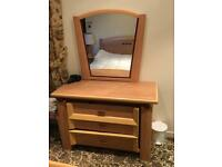 Bedroom furniture chest and mirror