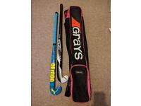 Slazenger Hockey Sticks, Shin Guards & Grays Bag