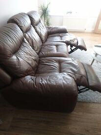3 Seater Leather Sofa with Recliner feature.