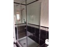1200x800 shower tray and minimalistic glass shower enclosure