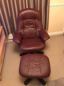 Genuine brown leather reclining/swivel chair
