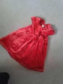 H&M Red velvet dress 12-18m