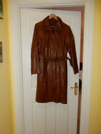 Ladies Full Length Brown Leather Coat