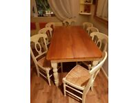 Pine Dining Table & 8 Chairs (Second Hand)