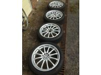 """4x Dezent 17"""" Alloy wheels with extremely good condition tyres"""