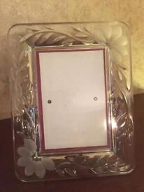 Fancy Etched Glass Photo Frame - (I Have 2 Available)