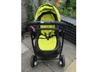 Evo Graco travel system. Black & lime green. Pram, carry cot, car seat & base.