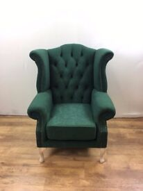 Queen Anne Wing Chair in Green Suede Effect Fabric with natural legs