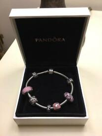 Pandora Bracelet with Charms - pink/ silver