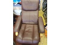Leather round wood base Arm Chair