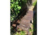 Two wooden garden sun loungers free!