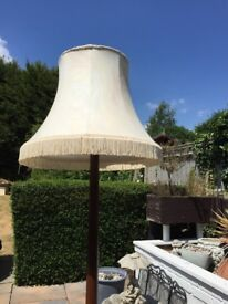 Vintage Wooden lampstand with neutral large fringed lampshade perfect for home or cosy restaurant !!