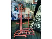 Cast iron red cup rack and kitchen roll rack