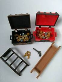 Playmobil - 2 'lockable' Pirate / Castle / Knights treasure chests containg gold and silver coins
