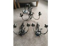 Wall lights with matching ceiling light, antique brass, excellent condition.