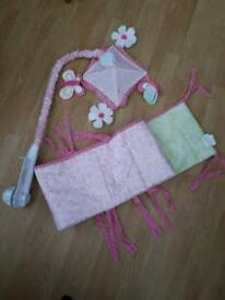 Baby mobile and cot bumper. Kids line Bella set. Pink girls set.