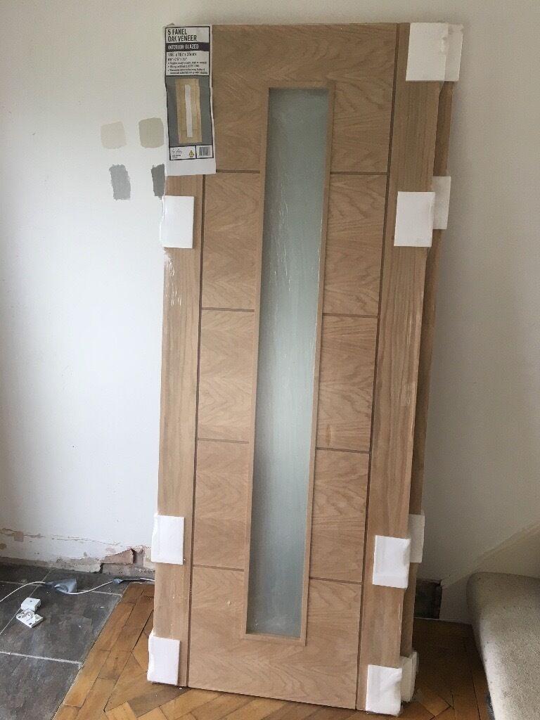 2 Internal Oak Veneer Doors Frosted Glass Panel Wickes
