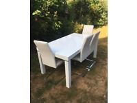 Dining table and 4x leather chairs