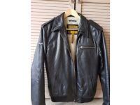 Superdry Men's Leather Bomber/ Biker Jacket. Medium.