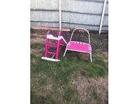 Pink slide & mini trampoline
