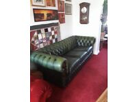 Green Leather 3 seater Chesterfield sofa