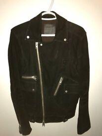 Allsaints Black Suede Men's Biker Jacket Size XS
