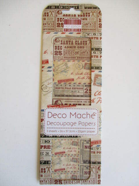 First Edition Deco Mache Decoupage Papers - Christmas Postage words decopatch