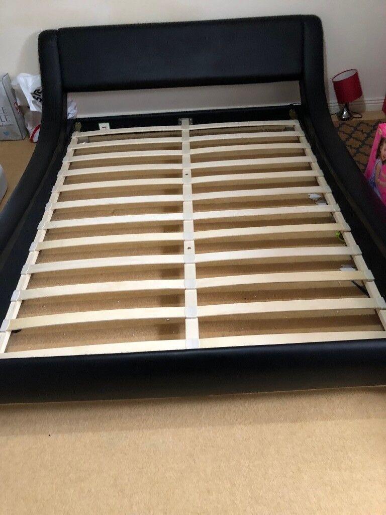 Excellent Condition King Size Designer Low Level Bed Frame Faux