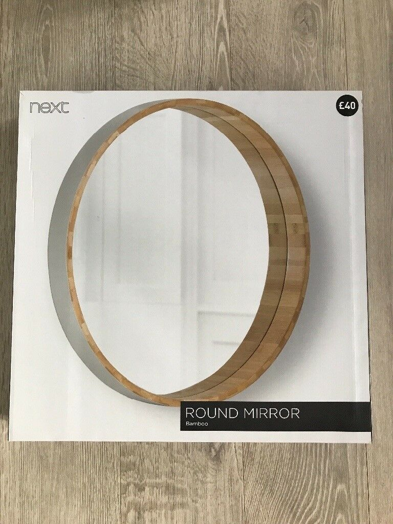 Brand New NEXT Round Grey Bamboo Mirror