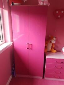 Pink high gloss wardrobe and drawers