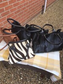 Various leather handbags