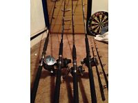 4 boat rod and reel combos