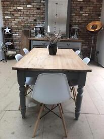 Rustic 6 seater farmhouse kitchen dining table